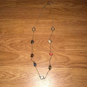 Mixed shape and colored long chain necklace
